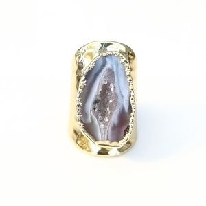 Natural druzy geode slice gold-plated ring